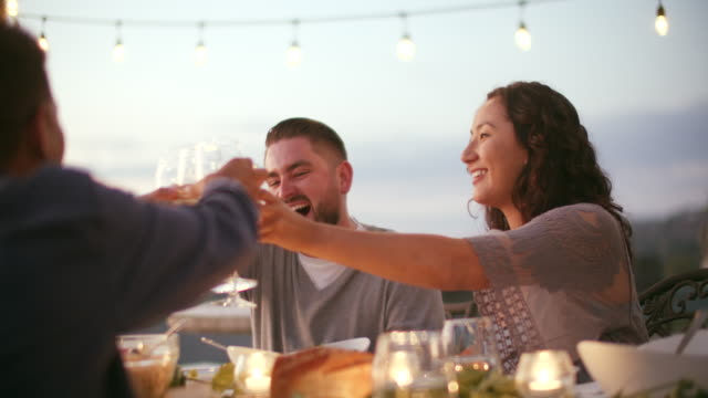 stockvideo's en b-roll-footage met cu young people toasting at a dinner party - dranken