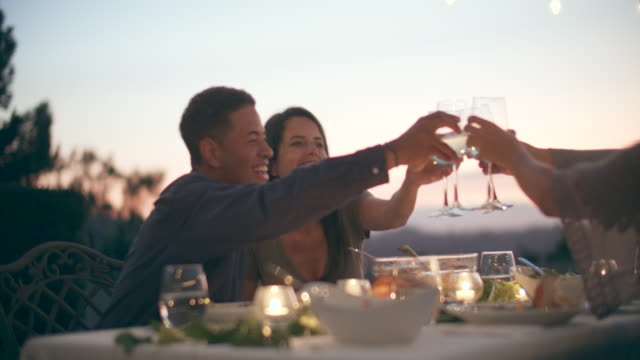 cu young people toasting at a party - elegance stock videos & royalty-free footage