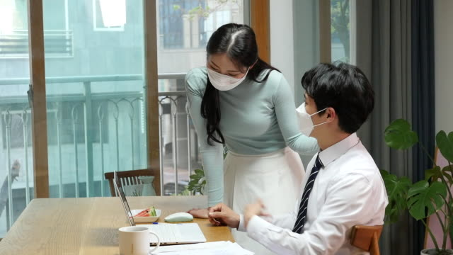 young people working at home while wearing a face mask - shirt and tie stock videos & royalty-free footage