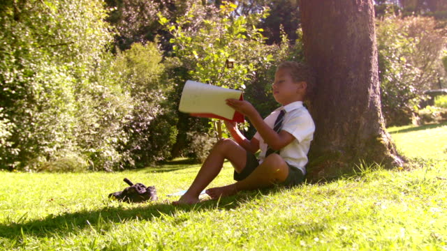 hd: young school boy reading outside - school uniform stock videos and b-roll footage