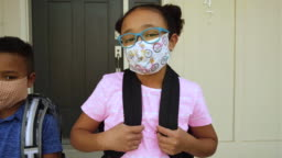 Young School Kids wearing Homemade Face Masks