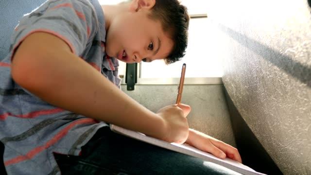 若い男子生徒は、スクールバスにいる間に宿題の仕事に取り組んでいます - 学校備品点の映像素材/bロール