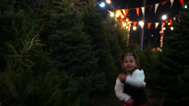 ms young sisters running through christmas tree lot - baby boys stock videos & royalty-free footage