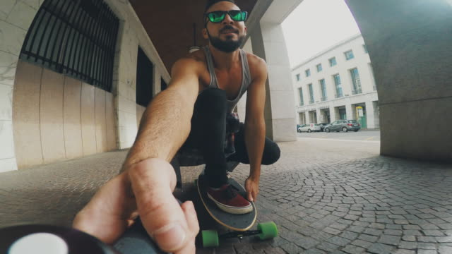 young skater take a selfie video while riding - wearable camera stock videos & royalty-free footage