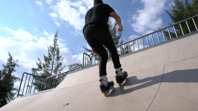 young skaters under the blue sky - skateboard park stock videos & royalty-free footage