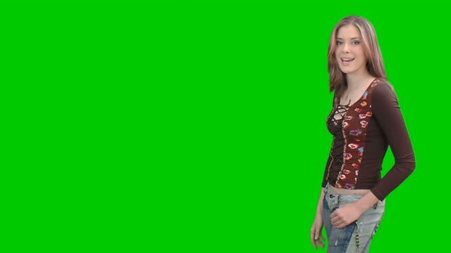 young student girl - advertisement. chroma key - human limb stock videos & royalty-free footage