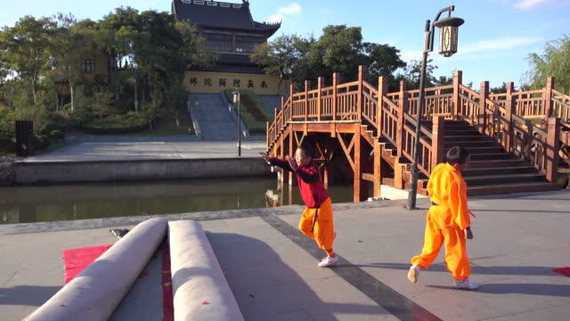 young students are exercising shaolin kung fu on a temple square shaolin kung fu is very popular among chinese youngsters as a skill esp those from... - 少林寺点の映像素材/bロール