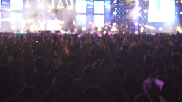 young students enjoying and cheering in festival - コンサート点の映像素材/bロール