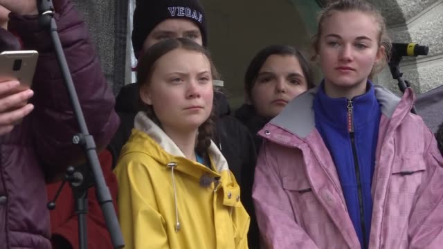 young swedish climate activist greta thunberg speaks to students who attended a strike for the climate outside parliament in stockholm as events... - climate stock videos & royalty-free footage