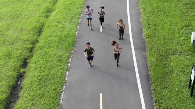 vídeos de stock e filmes b-roll de young team jogging on city bridge - locais geográficos