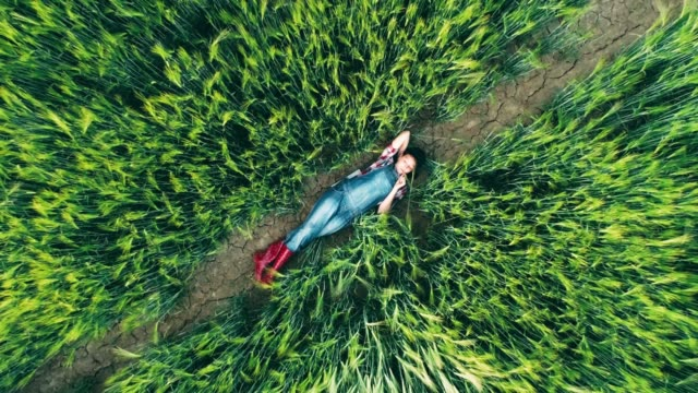 young teenage girl farmer relaxing,laying in rural,green wheat field,real time - sdraiato video stock e b–roll