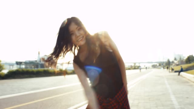 young teenage girl having fun in the city - lipstick kiss stock videos and b-roll footage