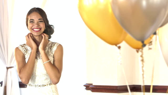 young teenage girl in prom dress, nervous excitement - high school prom stock videos and b-roll footage
