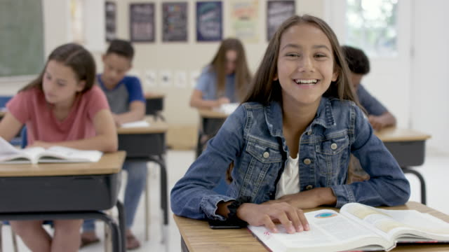 young teenagers in the classroom. - 12 13 anni video stock e b–roll