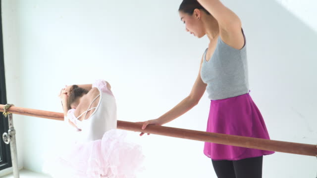 young thai ballerina teacher teaching her student with hoping to make her be a professional - ballet performance stock videos & royalty-free footage