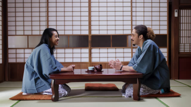 Young tourist couple relaxing in a Japanese Ryokan together