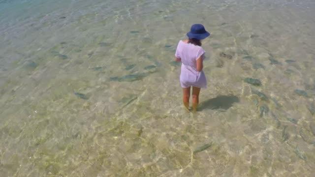 Young tourist woman feeding tropical fish  in Rarotonga Cook Islands