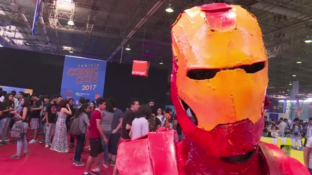 young tunisians participated in the opening of the second edition of comic con tunisia on friday in the town of le kram near carthage - carthage tunisia stock videos & royalty-free footage