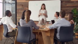 Young white woman giving presentation to business colleagues