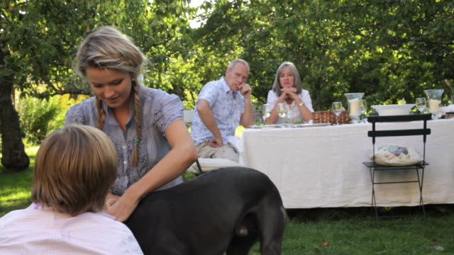 MS PAN Young woman and boy (12-13) petting gray whippet in garden, parents at table in background / London, United Kingdom