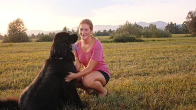 SLO MO Young woman and her dog in the sunset meadow
