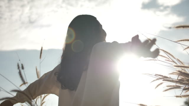 young woman arms outstretched - brown eyes stock videos & royalty-free footage