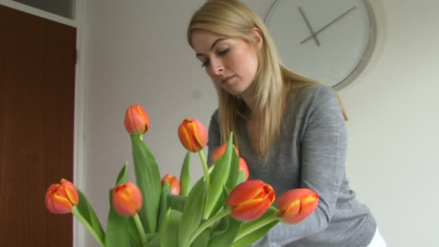 Young woman arranging tulips in vase, UK