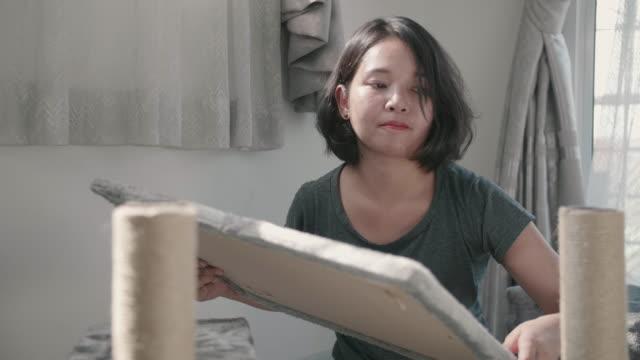 vídeos de stock e filmes b-roll de young woman assembling for diy project. - prateleira mobília
