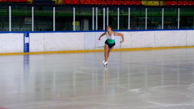 HD: Young Woman at Figure Skating