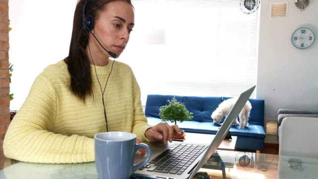young woman at home using a headset and laptop working from home enjoying a coffee - headset stock videos & royalty-free footage