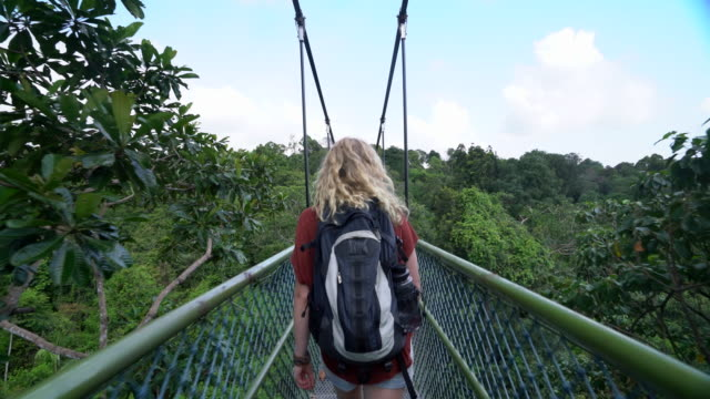 ts rv young woman backpacking across a bridge - brücke stock-videos und b-roll-filmmaterial