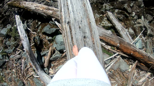 young woman balances along rotten log - human leg stock videos & royalty-free footage