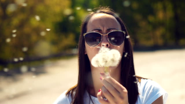 young woman blowing dandelion - sunglasses stock videos & royalty-free footage