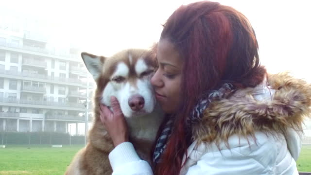 young woman caresses her dog - slow motion - malamute stock videos and b-roll footage