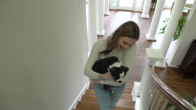 young woman carrying a puppy while walking up stairs - staircase stock videos & royalty-free footage