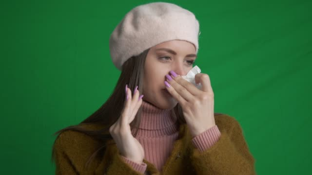 young woman catching a cold - facial tissue stock videos & royalty-free footage