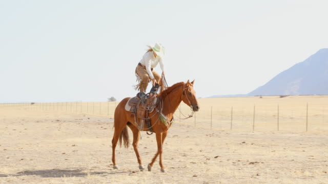 Young Woman Cowgirl Doing Horse Riding Tricks