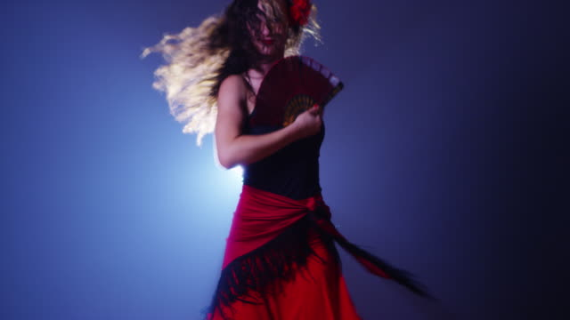 young woman dancing flamenco - flamenco dancing stock videos and b-roll footage