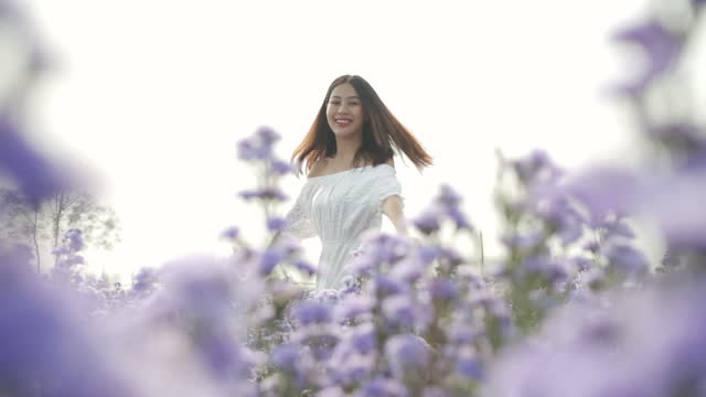 slow mo young woman dancing in a flower field - white dress stock videos & royalty-free footage