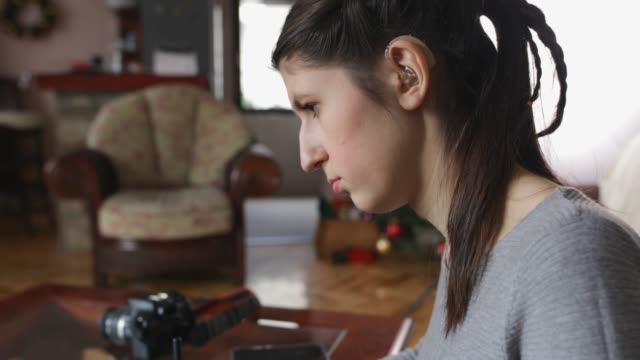young woman designer working at home - tecnologia assistiva video stock e b–roll