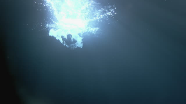 ws slo mo young woman diving underwater / london, united kingdom - one young woman only stock videos & royalty-free footage