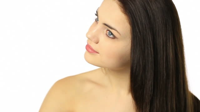 young woman doing her beautiful hair - straight hair stock videos & royalty-free footage