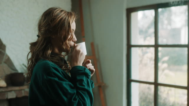 vídeos de stock e filmes b-roll de young woman drinking coffee in front of the window at artistic atelier - chávena