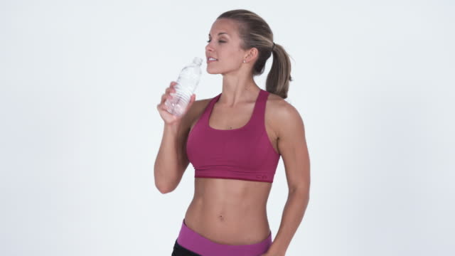 ms young woman drinking water from bottle / orem, utah, usa - orem utah stock videos & royalty-free footage
