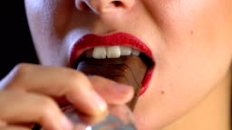 Young Woman Eating Chocolate Cake