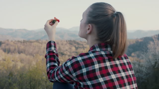 young woman eating strawberry in nature - gesunde ernährung stock-videos und b-roll-filmmaterial