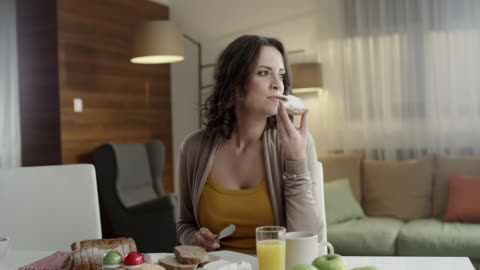 young woman eating - bread stock videos & royalty-free footage