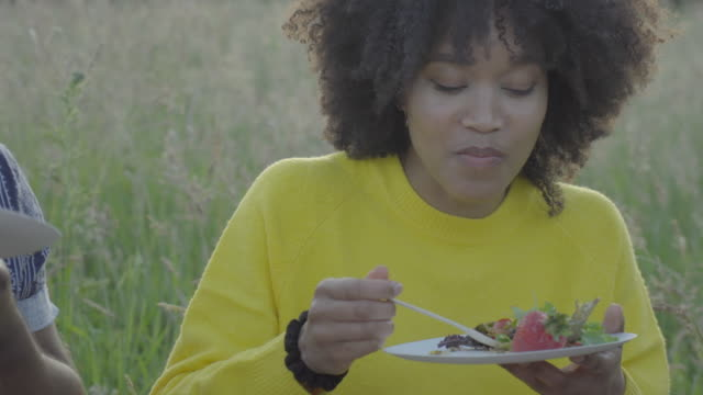 stockvideo's en b-roll-footage met a young woman eats salad - picknick