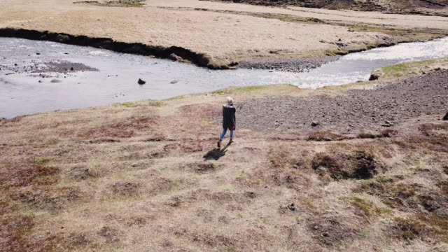 young woman enjoying hiking alone in iceland - terra brulla video stock e b–roll