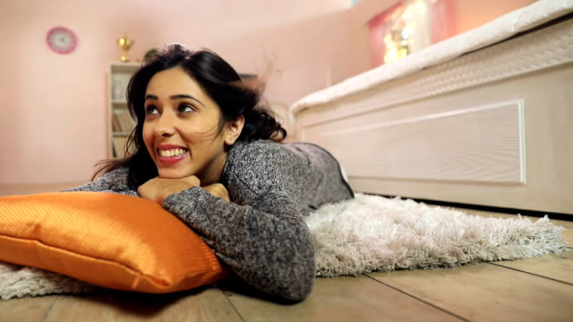 Young woman enjoying in the home, Delhi, India